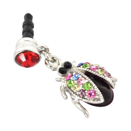 Universal 3.5mm Headphone Jack Stopple Charm - Ladybug w/ Multi-Colored Gems