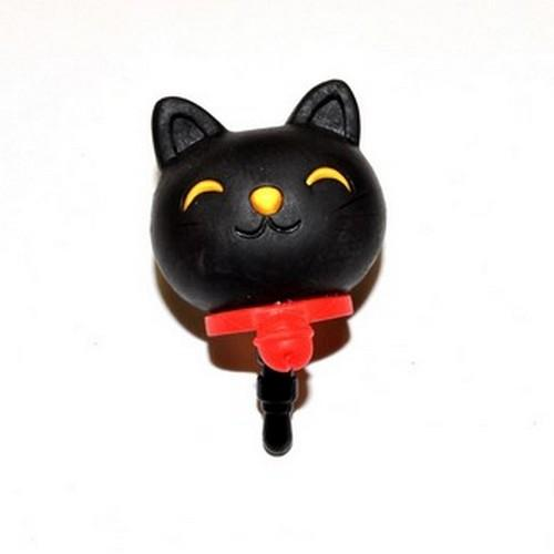 Universal 3.5mm Headphone Jack Stopple Charm - Black Lucky Cat