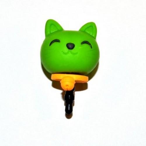 Universal 3.5mm Headphone Jack Stopple Charm - Lime Green Lucky Cat