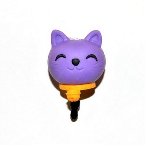 Universal 3.5mm Headphone Jack Stopple Charm - Purple Lucky Cat