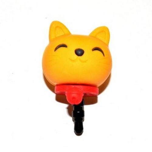 Universal 3.5mm Headphone Jack Stopple Charm - Yellow Lucky Cat