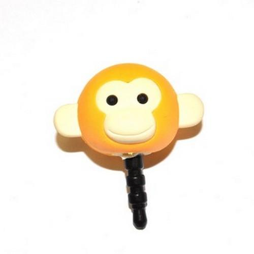 Universal 3.5mm Headphone Jack Stopple Charm - Light Gold Yellow Monkey