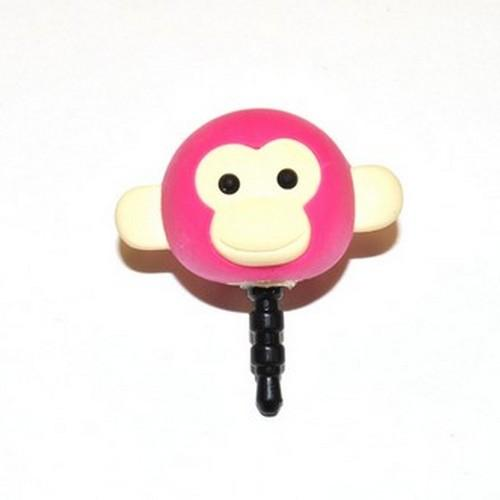 Universal 3.5mm Headphone Jack Stopple Charm - Hot Pink Monkey