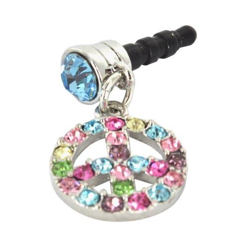 Universal 3.5mm Headphone Jack Stopple Charm - Silver Peace Sign w/ Multi-Colored Gems