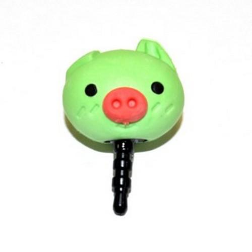 Universal 3.5mm Headphone Jack Stopple Charm - Cute Green Pig
