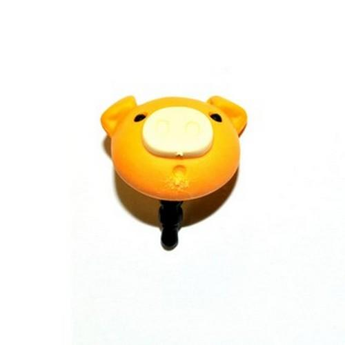 Universal 3.5mm Headphone Jack Stopple Charm - Pastel Gold Yellow Pig
