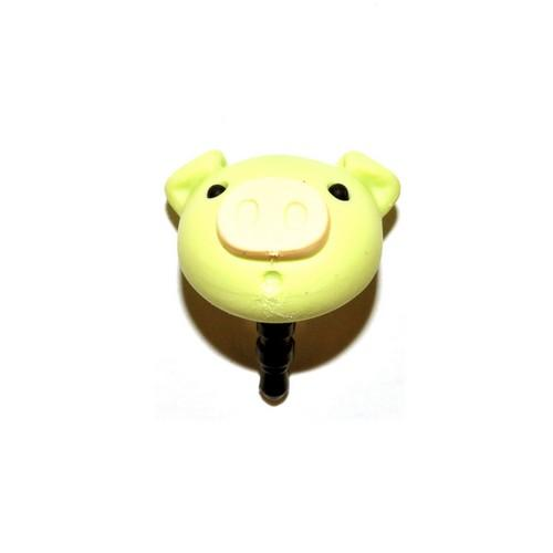Universal 3.5mm Headphone Jack Stopple Charm - Pastel Lime Green Pig