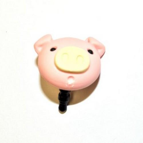 Universal 3.5mm Headphone Jack Stopple Charm - Pastel Pink Pig