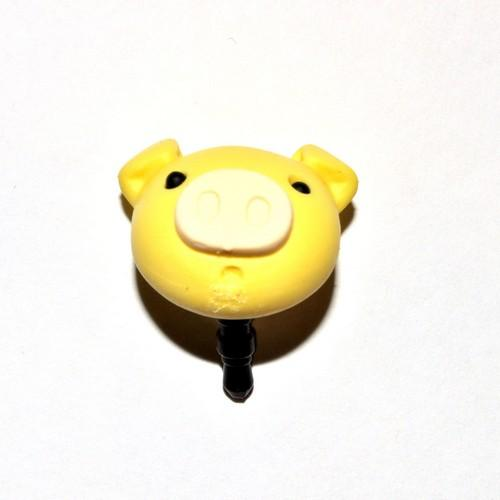 Universal 3.5mm Headphone Jack Stopple Charm - Pastel Yellow Pig