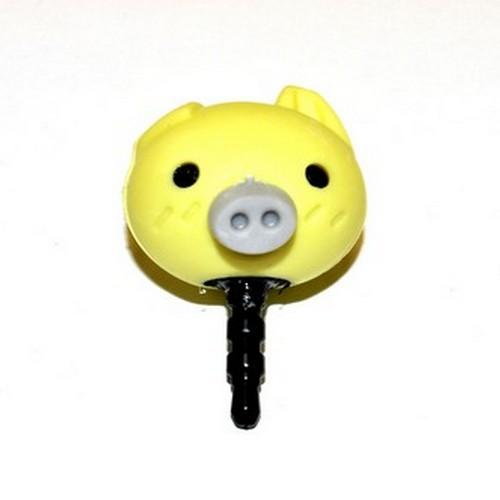 Universal 3.5mm Headphone Jack Stopple Charm - Cute Yellow Pig