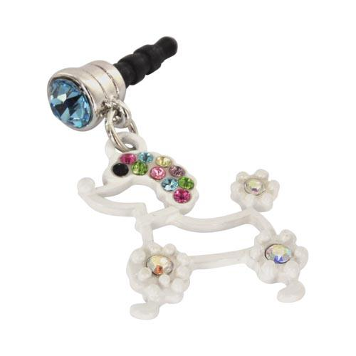 Universal 3.5mm Headphone Jack Stopple Charm - White Poodle w/ Multi-Colored Gems