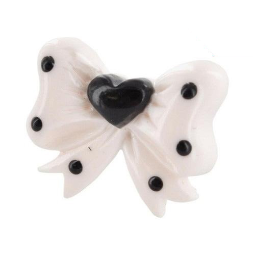 Universal 3.5mm Headphone Jack Stopple Charm - White Ribbon Bow w/ Black Heart & Dots