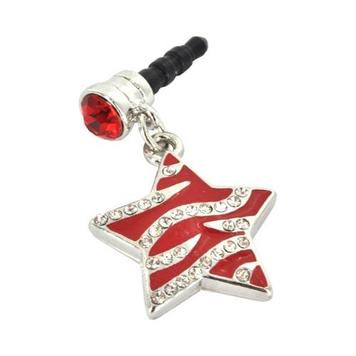 Universal 3.5mm Headphone Jack Stopple Charm - Red Star w/ Silver Gems