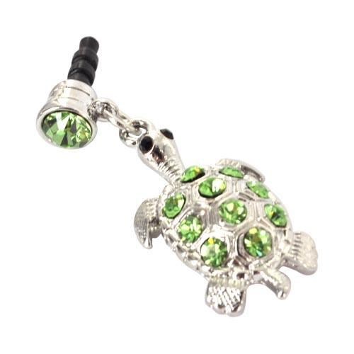 Universal 3.5mm Headphone Jack Stopple Charm - Silver Turtle w/ Green Gems