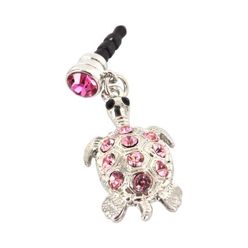 Universal 3.5mm Headphone Jack Stopple Charm - Silver Turtle w/ Pink Gems