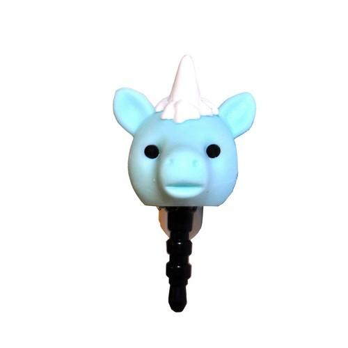 Universal 3.5mm Headphone Jack Stopple Charm - Pastel Aqua Unicorn