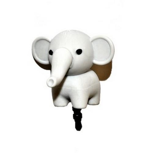 Universal 3.5mm Headphone Jack Stopple Charm - Gray Elephant