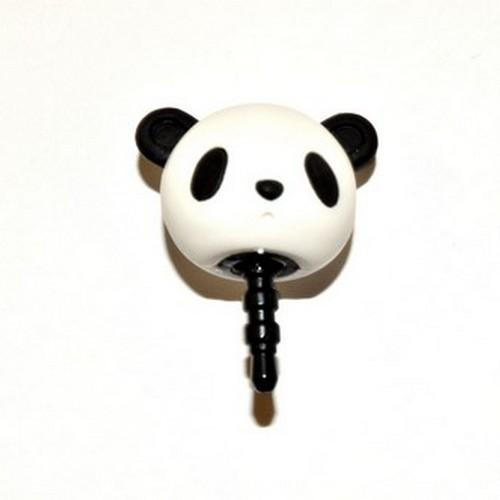 Universal 3.5mm Headphone Jack Stopple Charm - Black/White Panda