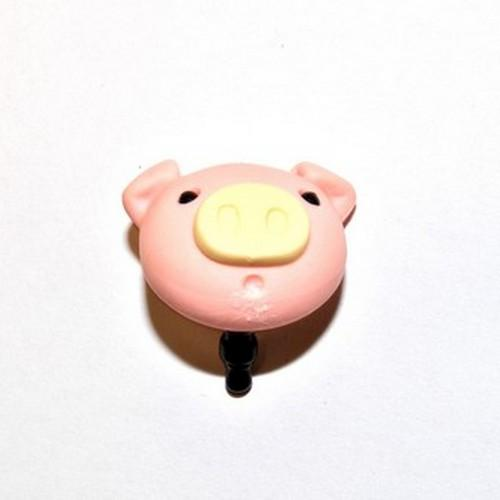 Universal 3.5mm Headphone Jack Stopple Charm - Pink Pig