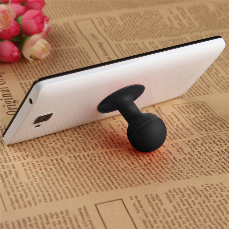 Universal Portable Cell Phone Silicone Suction Ball Stand Holder - Black