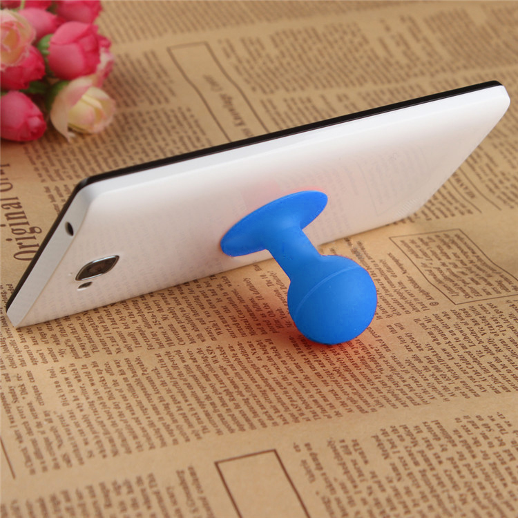 Universal Portable Cell Phone Silicone Suction Ball Stand Holder - Blue