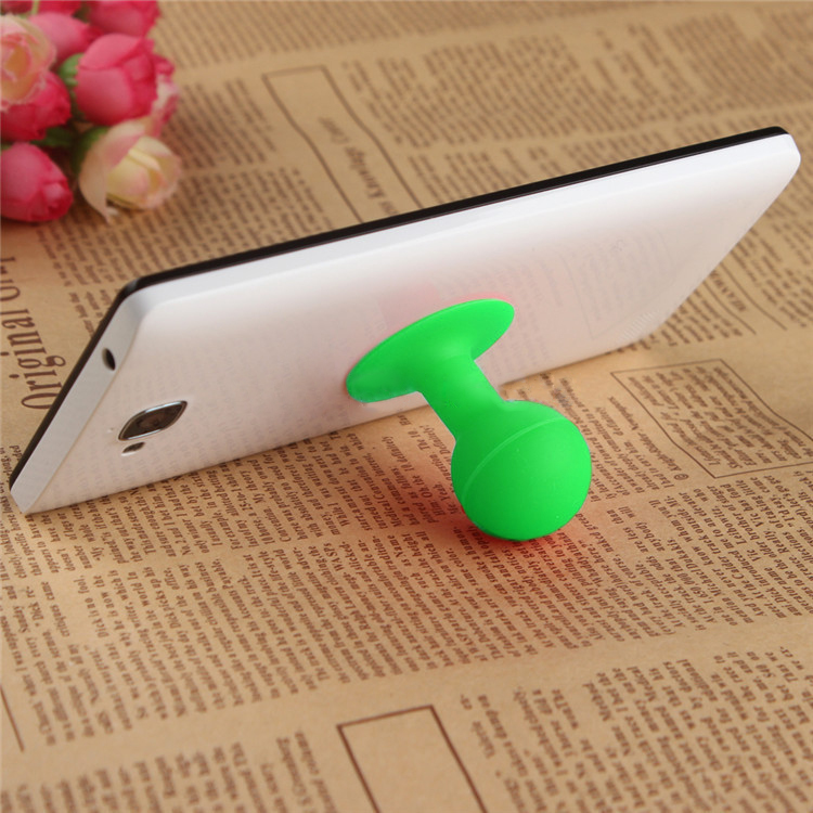 Universal Portable Cell Phone Silicone Suction Ball Stand Holder - Green