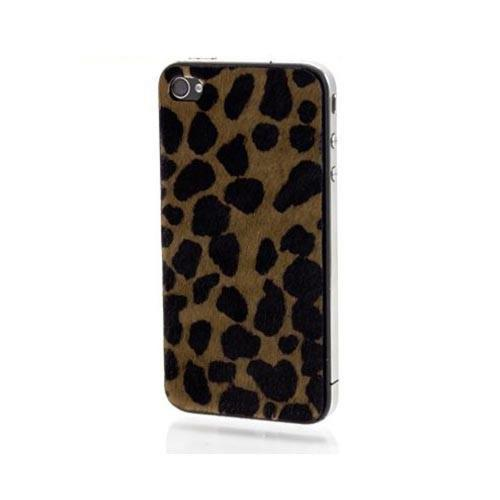 Original Slickwraps Fur Series AT&T/ Verizon iPhone 4, iPhone 4S Genuine Full-Grain Leather Skin w/ Screen Protector, SW-AIP4-LEOPARDFUR - Brown/ Black Leopard