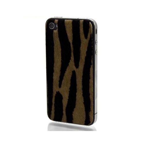 Original Slickwraps Fur Series AT&T/ Verizon iPhone 4, iPhone 4S Genuine Full-Grain Leather Skin w/ Screen Protector, SW-AIP4-TIGERFUR - Brown/ Black Tiger