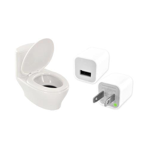 Universal Toilet Speaker w/ USB, 3.5mm Cords, & Wall Charger Adapter Combo