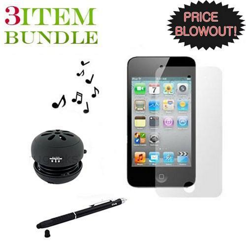 Apple iPod Touch 4 Combo Package w/ Portable Speaker, Screen Protector and Stylus