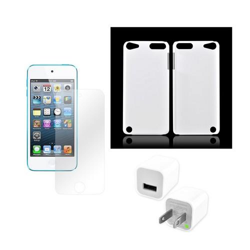 Apple iPod Touch 5 Essential Bundle Package w/ Rubberized White Hard Case, Premium Screen Protector, USB Home Wall Charger Adapter (NO LIGHTNING CABLE INCLUDED)