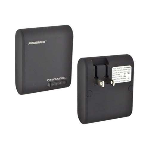 Original Technocel Universal Powerpak Portable Battery (1000 mAh) Home Charger w/ 10 Tips - Black