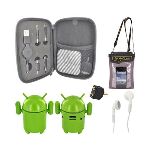 Universal Summer Bundle Package w/ Sharper Image Universal Portable Charger, Android Speaker, DICAPac Waterproof Case w/ Strap, 3.5mm Earbuds & Headphone Splitter