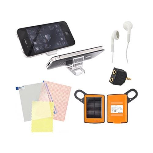 Universal Summer Bundle Package w/ Solar Charger, Screen Protector, Portable Keychain Kick Stand, 3.5mm Earbuds & Headphone Splitter