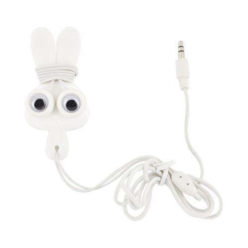 Original Kikkerland Bunny Buddy! Universal Earbud Stereo Headset w/ Cord Wrapper (3.5mm), US17-W - White Bunny w/ Googly Eyes