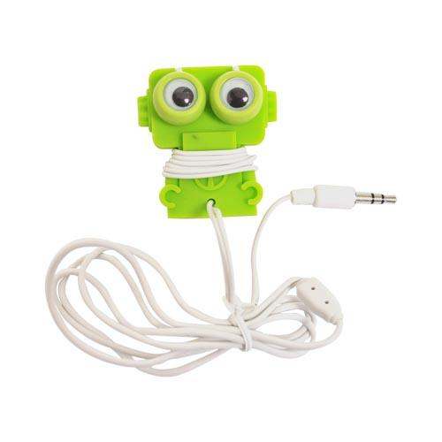 Original Kikkerland Robo Buddy! Universal Earbud Stereo Headset w/ Cord Wrapper (3.5mm), US18-G - Lime Green Robot w/ Googly Eyes