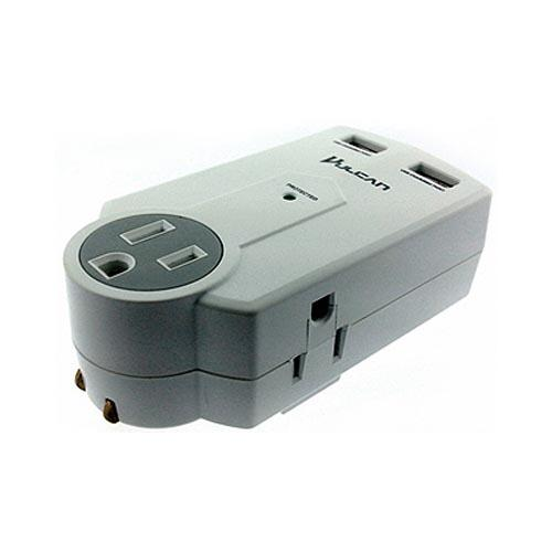 Original Vulcan Universal Portable Surge Protector w/ Dual USB Ports & Space - Isolated Outlets, VPS11Q1PS - White/ Gray