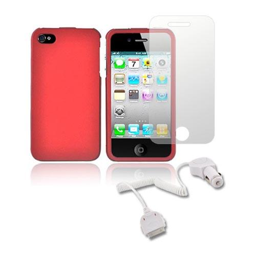 AT&T / Verizon iPhone 4, iPhone 4S Essential Bundle w/ Red Hard Case, Screen Protector and Car Charger