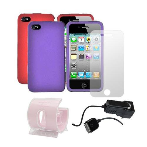 AT&T / Verizon iPhone 4, iPhone 4S Girly Combo Package w/ 2 Plastic Cases, Screen Protector, Car Charger, and 3Feet Stand
