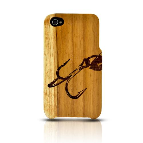 TPhone Eco-Design Apple iPhone 4/4S 100% Teak Hard Wood Back Cover Case w/ Screen Protector - Fish Hook 2.0
