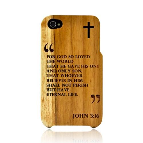 TPhone Eco-Design Apple iPhone 4, iPhone 4S 100% Teak Hard Wood Back Cover Case w/ Screen Protector - John 3:16