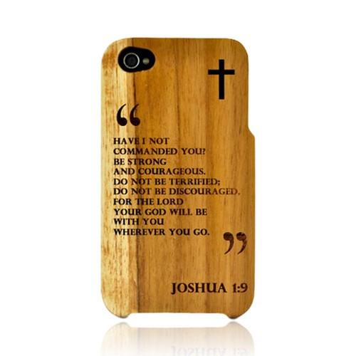 TPhone Eco-Design Apple iPhone 4, iPhone 4S 100% Teak Hard Wood Back Cover Case w/ Screen Protector - Joshua 1:9