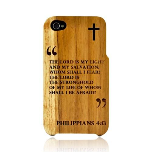 TPhone Eco-Design Apple iPhone 4, iPhone 4S 100% Teak Hard Wood Back Cover Case w/ Screen Protector - Psalm 27:1