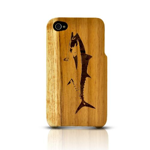TPhone Eco-Design Apple iPhone 4/4S 100% Teak Hard Wood Back Cover Case w/ Screen Protector - Tuna