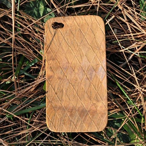 Exclusive TPhone Apple Verizon/ AT&T iPhone 4, iPhone 4S 100% Hard Wood Back Cover Case - Teak Brown Wood (Argyle Design)