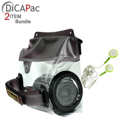 Waterproof Bundle Package - Dicapac WP-D20 Waterproof Camcorder Case w/ Lens & Stereo Earphone Headset - (Traveller Combo)