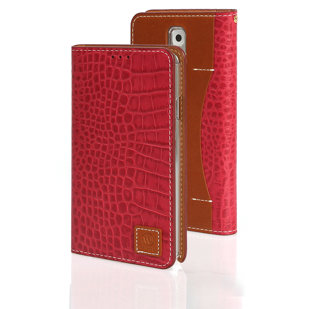 Red Wetherby Premium Croco Series Handcrafted Leather Case Wallet w/ ID Slots for Samsung Galaxy Note 3