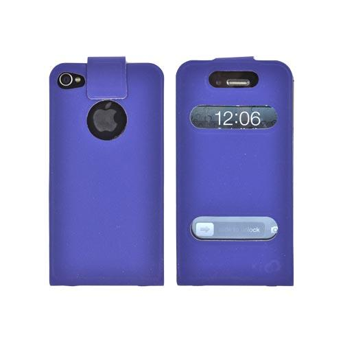 Original Kroo USA AT&T/ Verizon Apple iPhone 4,iPhone 4S DASH Leather Flip Case w/ Soft Touch Finish & Slim Adhesive Fit, MIP4DPBD - Navy Blue