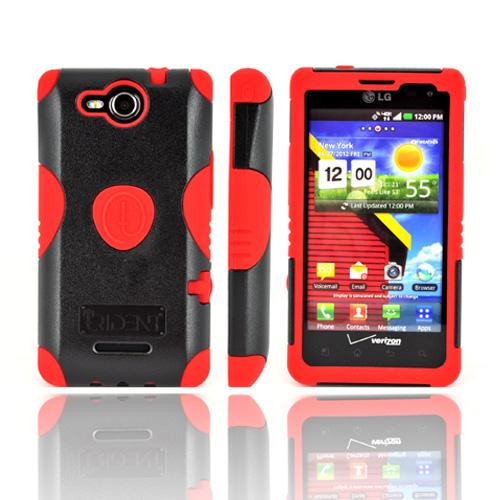 Original Trident Aegis LG Lucid 4G Hard Cover Over Silicone Case w/ Screen Protector, AG-LG-VS840-RD - Red/ Black