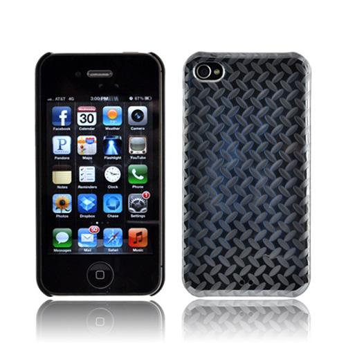 Original Luxmo Platinum Lux Jacket AT&T/ Verizon Apple iPhone 4, iPhone 4S Hard Case w/ Screen Protector - Diamond Plate Metal
